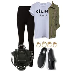 √ Céline Top √ Green Parka √ Black Skinny Jeans √ Black Leather Slip On Vans Shoes √ Prada Black Bag