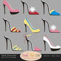 Instant Download - Shoe Dazzlers Shoe Clip Art, High Heel Shoes, Pumps, Digital Clip Art