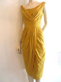 Yellow Draped Wiggle Dress, Vintage 1950's