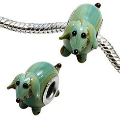 Glass Painted Dachsund Charm Bead- want !!!