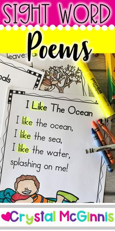 40 Sight Word Poems for Shared Reading (Perfect for Kindergarten or First Grade) Basic Sight Words, Teaching Sight Words, First Grade Sight Words, Rhyming Words, Kindergarten Poems, Kindergarten Reading Activities, Teaching Reading, Phonics Reading, Kindergarten Classroom