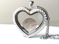 Large Crystal Heart Floating Charm Glass Memory Locket Pendant - Silver Stainless Steel