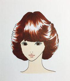 聖子ちゃんカット #イラスト#昭和 It Works, Vintage Fashion, Anime, Fashion Vintage, Nailed It, Preppy Fashion