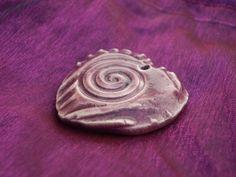 Purple Spiral Raku Fired Focal Bead in Clay by spinningstarstudio, $3.00