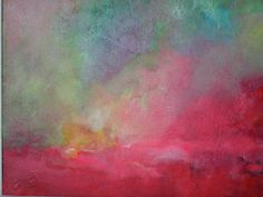Abstract Art Pink Red Sky  Oil Painting Original by EastwoodArt