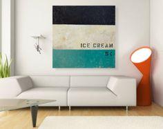 Mid Century Modern Wall Art Ice Cream Painting 32x32 Original Wall Decor