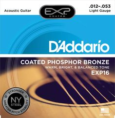 D'Addario Coated Phosphor Bronze Acoustic Guitar Strings, Light, – Offers a Warm, Bright and Well-Balanced Acoustic Tone and Longer Life - With NY Steel for Strength and Pitch Stability 12 String Acoustic Guitar, Acoustic Guitar For Sale, Acoustic Guitars, Bronze, Baritone Guitar, Guitar Vector, Guitars For Sale, Playing Guitar, Nirvana