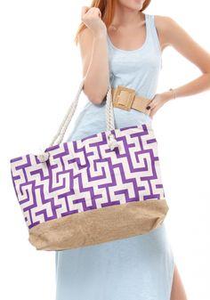 Τσάντα θαλάσσης Miss Pinky ethnic με μαίανδρο - Miss Pinky