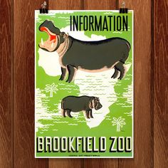 Information - Brookfield Zoo. Poster for the Brookfield Zoo, showing hippopotamuses superimposed over outline of Africa. Retro Poster, Vintage Posters, Vintage Graphic, Canvas Wall Art, Canvas Prints, Art Prints, Wpa Posters, Travel Posters, Brookfield Zoo