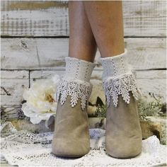 Our Signature lace sock in silver grey is the perfect cuff sock to compliment… Socks For Flats, Lace Socks, Ankle Socks, Crochet Leg Warmers, Grey Boots, Boot Cuffs, Bare Foot Sandals, Short Boots, Heeled Boots