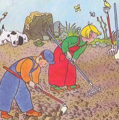 The children in Two Little Gardeners start tending to the earth.