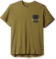 PENDLETON V-Neck COTTON Stretch Pattern POCKET T-Shirt OLIVE ( M ) Free Shipping #pendleton #VNeckPocketTee