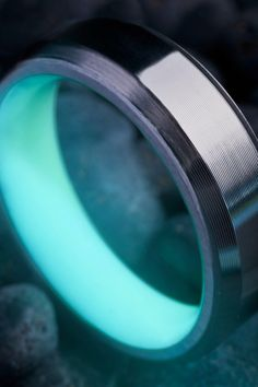 Titanium Turquoise Aqua Glow Ring by Carbon 6 Rings