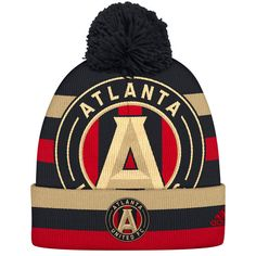 premium selection ebd38 a9e9f Men s Atlanta United FC adidas Black Gold Double Logo Cuffed Knit Hat with  Pom