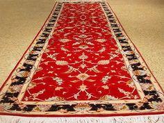 2.6 X 8 Red-Black Genuine Tabriz Runner Persian Quality & Reputation