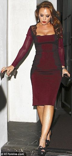 leah remini casual | Elegant: The burgundy number made the most of the star's trim figure ...
