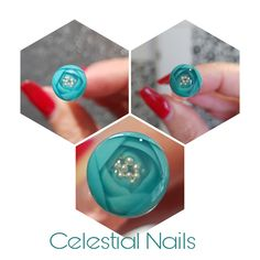 "I have another go & this is it ""Candy Ball/ Rose Bubble"" I how pretty it is #celestialnails #nailtech #gelnails #hardgel #candyball #rosebubble #flowerball #rose #flower #turquoise"