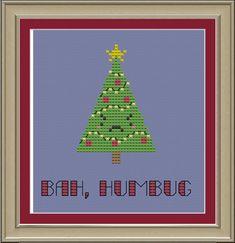 Bah humbug Christmas tree funny crossstitch von nerdylittlestitcher, $3.00
