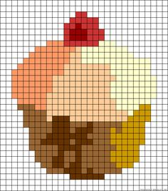 Cupcake perler bead pattern