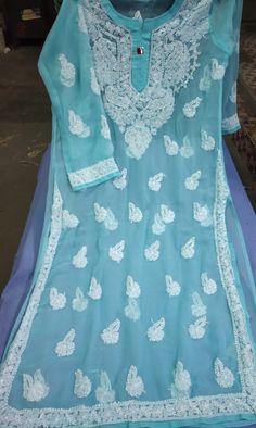Amazing Chikankari Kurta in beautiful contrast of white and blue color Pakistani Dresses, Kurti, Floral Tops, Contrast, Fashion Dresses, City, Simple, Amazing, Board