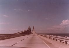 The original Sunshine Skyway bridge over the entrance to Tampa Bay, seen heading over the southbound span. Photo taken in July 1978, prior to the bridge's collapse on May 9, 1980 when hit by the freighter MV Summit Venture.