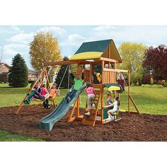 Cedar Summit Brookridge Cedar Wooden Play Swing Set - Walmart.com