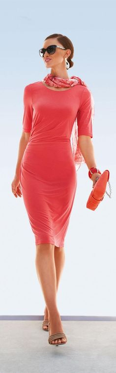 Very elegant coral dress women fashion outfit clothing style apparel closet ideas New Fashion Trends, Fashion Mode, Look Fashion, Womens Fashion, Latest Fashion, Dress Fashion, Luxury Fashion, Looks Street Style, Looks Style