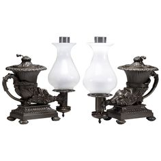 Two William IV Bronze Argand Lamps in the Form of Ancient Rhytons, circa 1835 | From a unique collection of antique and modern table lamps at https://www.1stdibs.com/furniture/lighting/table-lamps/