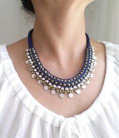 navy blue necklacestatement necklaceboho by HANDMADETHIS on Etsy