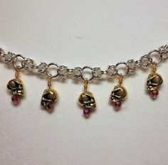 Skull Chainmaille Bracelet by CrystalFoxTreasures on Etsy, $30.00
