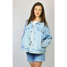 Re:dream Vintage Levis Light Blue   Red Tab   Denim Loose Jacket ($50) ❤ liked on Polyvore featuring outerwear, jackets, blue, vintage jackets, long sleeve jacket, loose jacket, denim jackets and long sleeve jean jacket