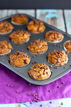 Pumpkin Chocolate Chip Muffins #baking #cooking #food #recipes #cake #desserts #win #cookies #recipe #cakes #cupcakes