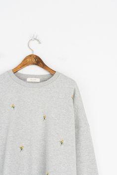 Lily Stitch Sweatshirt, Grey