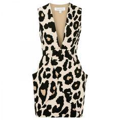 Leopard print neoprene mini dress