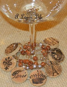 A winery was selling cork wine charms.    I had all the supplies on hand to make my own.            ~ Ooh La La ~     To make the wine ch...
