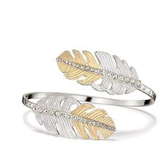 Brilliantly complete your look! Silvertone and goldtone ombré effect will coordinates beautifully with all of your jewelry. The Avon Bravo Bypass Bracelet features on trend feathers with rhinestones gradually running down the center of it.Avon Bravo Collection: Feathers are all the rage for fall-especially when they come in a silvertone and goldtone ombré effect. Shop the entire Avon Bravo Collection: Avon Bravo Long Pendant Necklace, Avon Bravo Earrings, and Avon Bravo W...