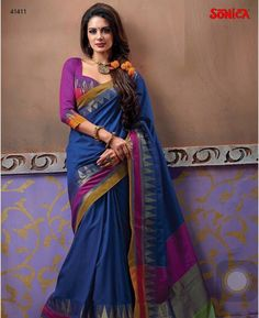 Link to buy this: http://www.sonicasarees.com/sarees/attractive-cotton-patch-border-work-designer-saree-41418 Price Rs 1700/-