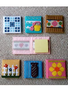 Notepad Covers ~ great plastic canvas project for keeping a pack of stick it notes in your bag!