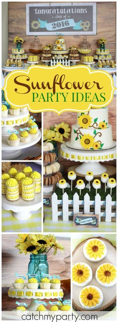 Look at all the pretty sunflowers at this country sunflower graduation party! Look at all the pretty sunflowers at this country sunflower graduation party! See more party ideas Sunflower Party Themes, Sunflower Birthday Parties, Sunflower Decorations, Girl First Birthday, 16th Birthday, First Birthday Parties, Birthday Ideas, Graduation Party Decor, Grad Parties