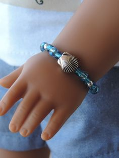 Aqua and Silver Sea Shell Bracelet for American Girl Dolls by BrownDaisyDesigns on Etsy