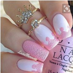 Don't worry if you are a beginner and have no idea about the nail designs. These pink nail art designs for beginners will help you get ready for your date Cute Pink Nails, Pink Nail Art, Cute Nail Art, Fancy Nails, Love Nails, White Nails, Art Nails, Fabulous Nails, Gorgeous Nails