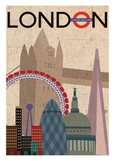 Gavin Paye Online Portfolio » Vintage Style Poster – London