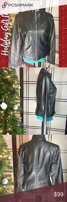 "❄️⬇️ LAST CALL 4/16 NWT Black Leather Jacket, XL This jacket is the perfect mix of glam 💄and rock😎🤘🏼!!Black leather is soft like butter. Side stretch panels ensure the perfect fit. Duel front side zip pockets. Lined. Size XL. Bust is approx 19"", sleeves 25"", and waist 18"". Stretch paneling adds about two available inches per side. Item is new with tags. Please feel free to ask questions or bundle for the best savings.  I ship same or next day. No trades. Thank you ☺️ Black Rivet Jackets…"