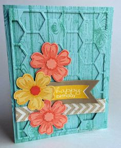 Stampin' Up! Hexagon Hive Flower Card Elaine's Creations