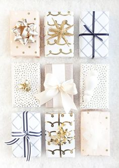 Boxwood Clippings | Blush, Gold, White and Navy Christmas Wrapping
