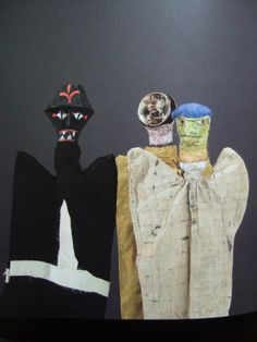 BLACK SPECTRE, ELECTRICAL SPOOK AND OLD MAN puppets that Klee made for his son Felix #PaulKlee #Klee #puppets #marionettes #art #modernart #naiveart #puppettheatre #Blackspectre #OldMan #ElectricalSpook #handpuppet