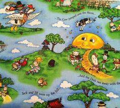 RARE! Mary Engelbreit Nursery Rhyme (Jack and Jill) Cotton Fabric