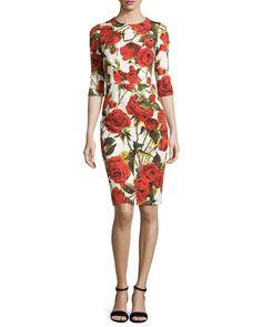Rose-Print Half-Sleeve Jacquard Dress, White/Red - Dolce & Gabbana