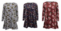 Womens Christmas Xmas Festive Swing Top Jumper Dress All Sizes Available