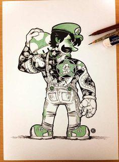 Tatuajes yakuza en personajes de super Mario